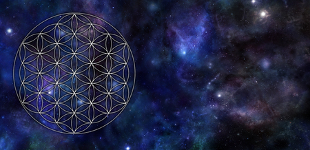 Flower of Life Universe Background - circular flower of life symbol pattern on left side of a wide dark blue night sky background with planets, stars, cloud formations and  copy space