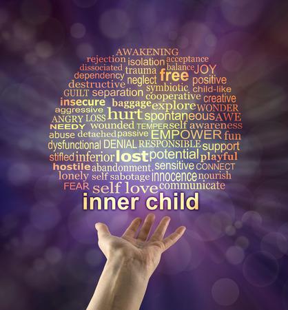 あなたのインナーチャイルドに手を差し伸べる - 手の手のひらと、言葉インナーチャイルド浮いて紫ボケ背景に上記関連の単語の雲で開催
