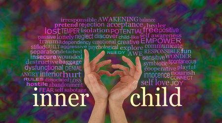 Discover and learn to love your Inner Child - female hands making a heart shape with the words INNER CHILD at wrist level and a relevant word cloud above on a rich multi colored background