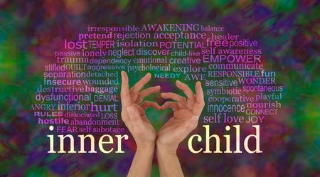 Ontdek en leer van je Innerlijke Kind te houden - vrouwelijke handen die een hart vormen met de woorden INNER KIND op polsniveau en een relevante woordwolk hierboven op een rijke veelkleurige achtergrond