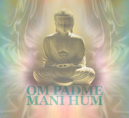 prana: Om Padme Mani Hum Buddha Meditating  - Buddhist prayer chant words beneath a Buddha in lotus position on a muted color background