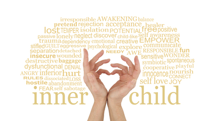 Love your Inner Child - female hands making a heart shape with little fingers surrounded by an INNER CHILD word cloud isolated on a white background