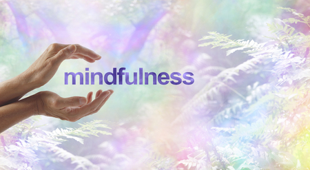 Mindfulness Meditation surrounded by surreal nature - female cupped hands with the word MINDFULNESS floating between on a rainbow bokeh woodland background and copy space Stock Photo