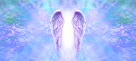 healer: Lilac Angel Wings Banner - Wide wispy  background with a pair of lilac Angel Wings on the center and a shaft of bright light between with copy space both sides
