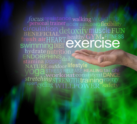 energy healing: You Need Exercise word cloud - male hand palm facing up with the word EXERCISE floating above surrounded by a relevant word cloud on a modern vibrant green and black masculine background