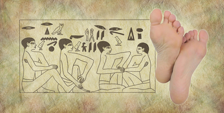 treat acupressure: Ancient Egyptian Hieroglyphics of Reflexology -  pair of female feet on right with Egyptian hieroglyphic panel of foot massage scene on stone effect background