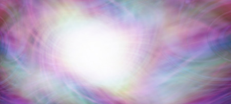 Creative color background - off center bright white circular light emerging from multicolored flowing streaming energy field