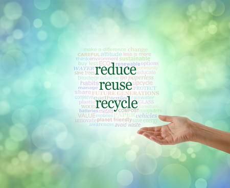 replenish: We all need to do this: Reduce Reuse Recycle  - Female with open palm gesturing towards a REDUCE REUSE RECYCLE  word cloud on a pale green bokeh background Stock Photo