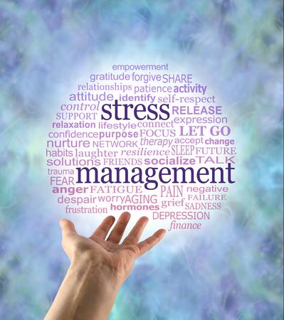 Aspecten van Stress Management woordbubbel - een open hand met een rode tot blauwe gegradueerde cirkelvormige wereldwolk met woorden die relevant zijn voor stressmanagement