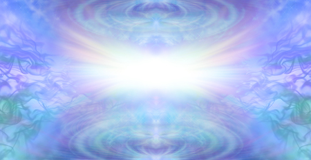 As above so below background - bright white light burst on a blue green lilac gasesou and rippling wave background