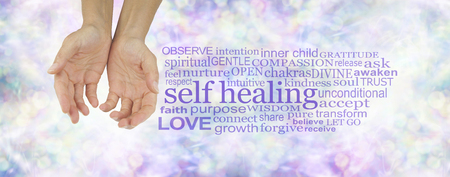 humility: Heal Thyself - female hands in cupped position on a subtle  pastel multicolored bokeh background  with a purple SELF HEALING word cloud to the right
