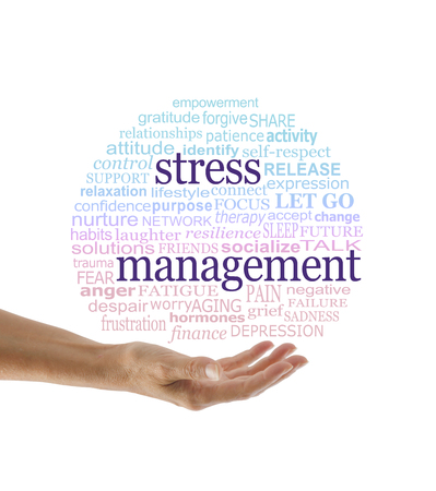 Elements of Stress Management word cloud -  a hand held open with a red to blue graduated circular world cloud containing words relevant to stress management