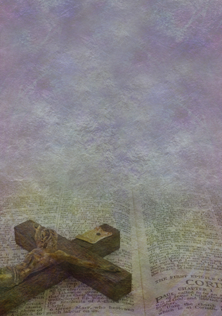 Jesus Parchment Background -  Jesus on the cross figure on rustic stone effect background with copy space above suitable for messages Stock fotó