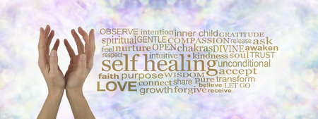 aura: Heal Thyself - female cupped hands reaching upwards  on a subtle  pastel multicolored bokeh background with a gold SELF HEALING word cloud to the right
