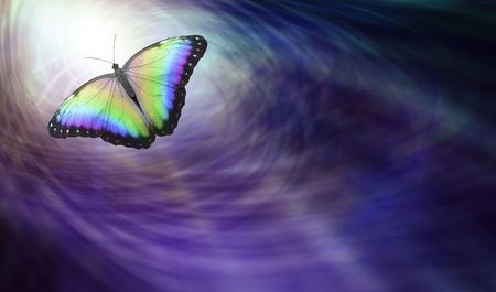 Symbolische geistige Freigabe - Schöner mehrfarbiger Schmetterling, der ins Licht sich bewegt, eine abgehende Seele darstellend