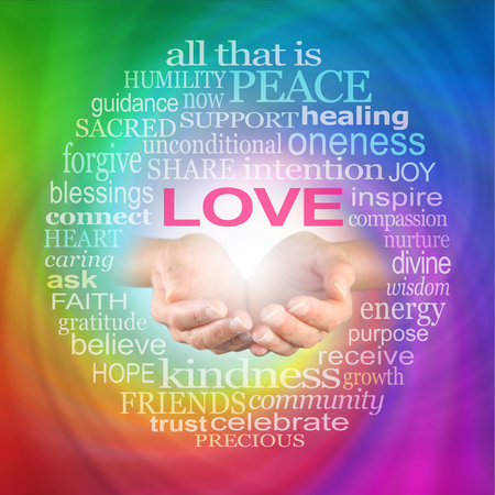 reiki: Love Heals Word Cloud -  Healers hands cupped with a LOVE word cloud surrounding on a rainbow coloured spiraling background Stock Photo