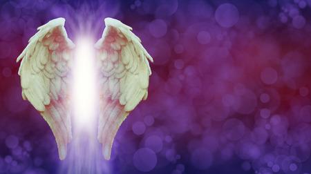 Angel Wings und Magenta Healing Light Banner - White Angel Flügel mit einer warmen Tönung und helles Licht zwischen auf einem ätherischen Deep Purple rot gefärbt Bokeh Hintergrund mit Kopie Raum Standard-Bild - 85335834