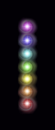 Just a single column of the Seven Spinning Major Chakras - magenta, indigo, blue, green, yellow, orange and red spiraling vortexes of energy in a neat vertical row on a rich black background