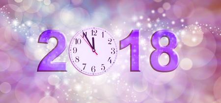 Bijna gelukkig nieuwjaar 2018 - een wijzerplaat van 11,55 die de 0 van 2018 op een sprankelend roze bokeh-achtergrond maakt