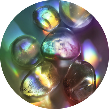Vibrant rainbow healing crystals - a circular image of clear quartz crystals with prismatic rainbow colors ideal for a place mat, coaster, clock face or mouse mat up to 30cm