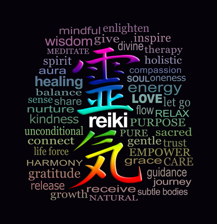 Reiki Words of Wisdom - a rainbow coloured Reiki Kanji Symbol representing Universal Energy, surrounded by a relevant muted colour word cloud on a black background