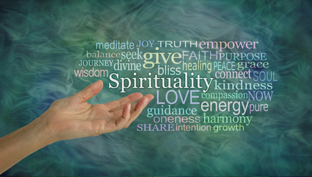 The meaning of Spirituality Word Cloud - female open palm hand gesturing towards the word SPIRITUALITY surrounded by a relevant word cloud on a wispy green ethereal background