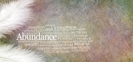 two white feathers and an ABUNDANCE word cloud against a rustic subtle colored stone effect background with copy space