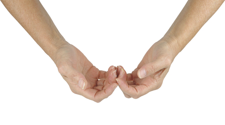 With spiritual healing, there is always hope - female hands with the back of the fingers touching in a gentle gesture of peace and love  isolated on a white background