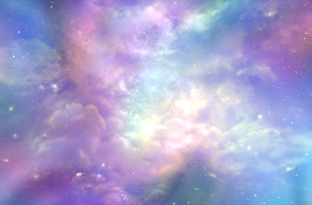 This must be what the Heavens Above looks like  -  Multicolored ethereal cosmic sky scape with fluffy clouds, stars, planets, nebulas, and bright light depicting Heaven