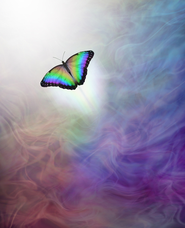 Soul Release Metaphor for passing over to the afterlife - lone rainbow coloured butterfly moving up towards the white light away from multi-coloured energy flowing background Stockfoto