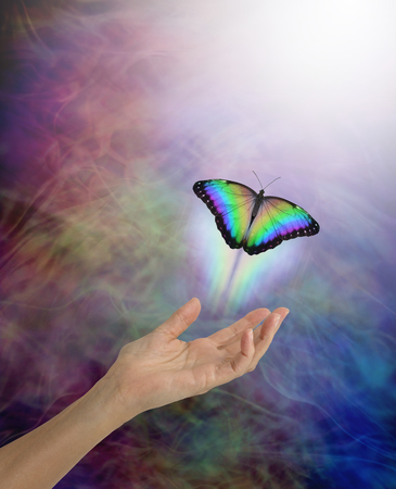Soul passing over to the afterlife metaphor - female open palm hand with a lone rainbow coloured butterfly moving up towards the white light against a multi-coloured energy flowing background