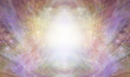 Beautiful Sacred Healing Light Background - shimmering sparkling brilliant white light centre with an intricate multi coloured energy form radiating outwards and upwards Banque d'images