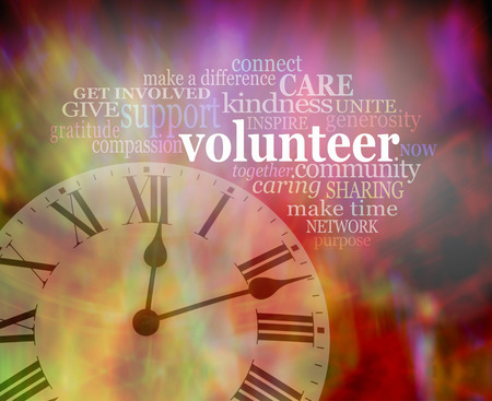 Please volunteer some time NOW  - vibrant red modern art effect background with a clockface bottom left and a VOLUNTEER word tag cloud above Stok Fotoğraf