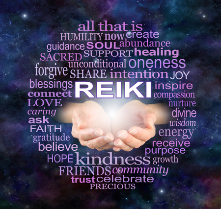 Reiki Share Healing Word Cloud - Healer's cupped open hands surrounded by a circle of wise healing words on a dark deep space night sky background