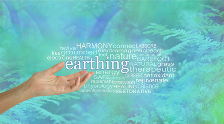 Earthing Word Cloud - female hand palm up outstretched reaching to the word EARTHING floating above surrounded by a relevant word cloud on a blue green woodland fern background