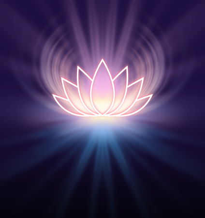 Sacred Lotus Symbol - lemon coloured glowing lotus flower symbol emitting light from all edges on a black and deep purple background with copy space beneath