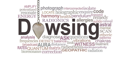 Dowsing Pendant Word Cloud - a smokey quartz crystal pendulum making the O of DOWSING surrounded by a relevant word cloud on a white background