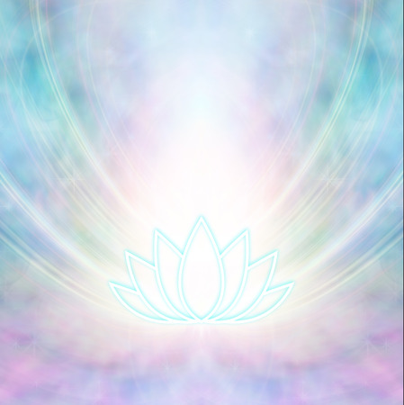 Sacred Lotus Symbol - turquoise coloured glowing lotus flower symbol emitting light from all edges on a pink blue ethereal  background with copy space