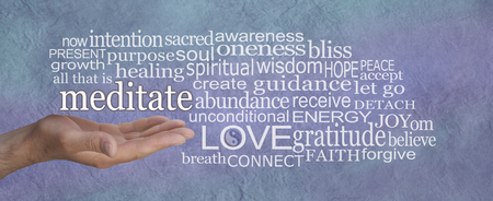 Meditate and reap the benefits word cloud - male hand with MEDITATE  floating above surrounded by a relevant word cloud on a rustic blue stone parchment effect background