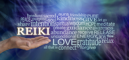 Gentle Reiki Words of Wisdom Word Cloud - male hand with REIKI floating above surrounded by a relevant word cloud on an ethereal blue  feathered background