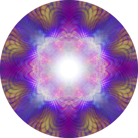 Vibrant Eastern Meditation Mandala - 8 piece symmetrical circular pink purple blue and orange highly detailed mandala with a white central focal point  ideal for meditation purposes 版權商用圖片 - 104877263