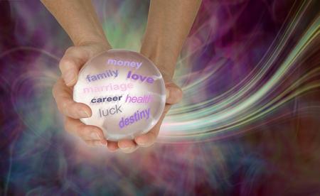 ¿Qué dice la bola de cristal sobre su futuro? Manos femeninas sosteniendo una gran bola de cristal transparente que muestra varias palabras sobre un fondo de formación de energía etérea con espacio de copia