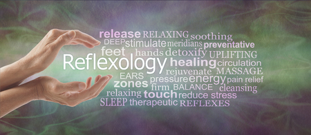 Reflexology Descriptive Word Tag Cloud Banner - female cupped hands with the word REFLEXOLOGY floating between surrounded by a relevant word tag cloud on a rustic multi coloured background