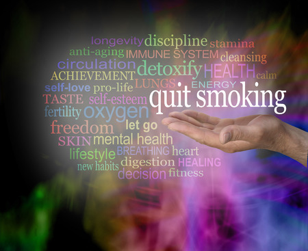 Please consider quitting smoking word cloud - male hand with the words QUIT SMOKING floating above surrounded by a relevant word cloud with a vibrant modern abstract background
