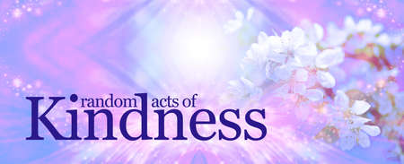 Random Acts of Kindness background - a pink and blue sparkly diamond shaped background with faded tree blossom and the words RANDOM ACTS OF KINDNESS with copy space above