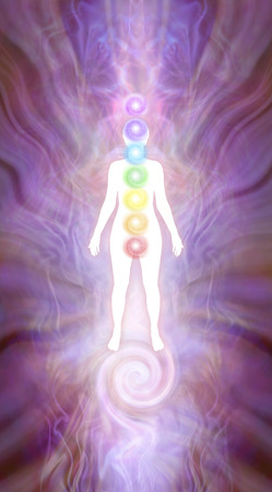 Kundalini Chakra Silhouette diagram - white female silhouette on a pink energy formation background with seven chakras and kundalini spiral rising up from beneath feet