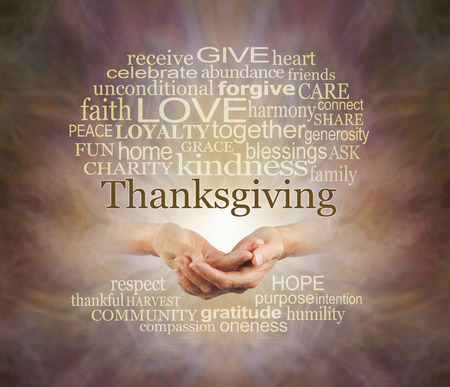 Words associated with the Thanksgiving Holiday - female hands gently cupped surrounded by a THANKSGIVING word cloud emerging from warm coloured background