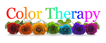 Color Healing Therapy Banner - A row of seven rose heads in red, orange, yellow, green, turquoise, indigo and magenta with a graduated rainbow colored Color  Healing phrase positioned above