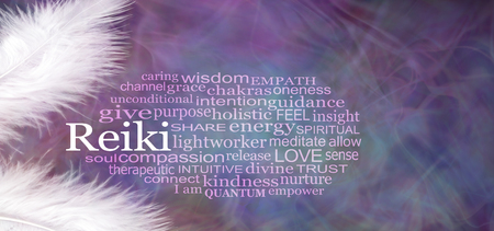 Angelic REIKI Word Cloud Rustic Banner