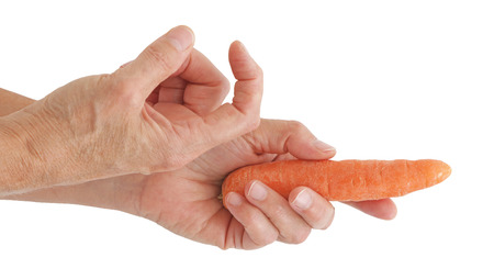 Heres the carrot come and get it - marketing metaphor - one hand beckons forth with index finger, the other hand holding a raw carrot isolated against a white background